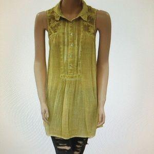 Free People Yellow Gause Acid Wash Tunic Tie Dye